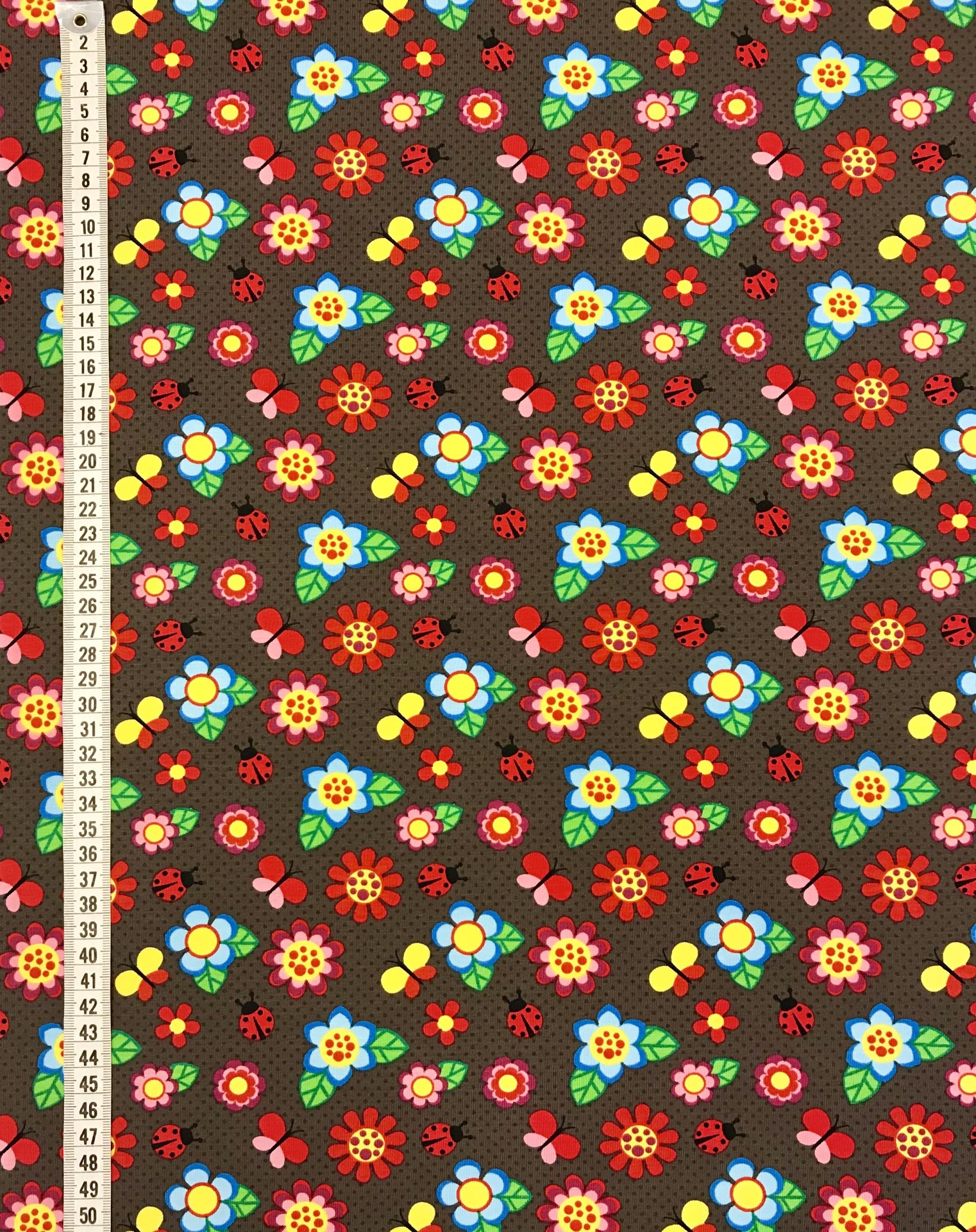 blommor nyckelpiga tyg metervara bomull trikå mode barn barntyg