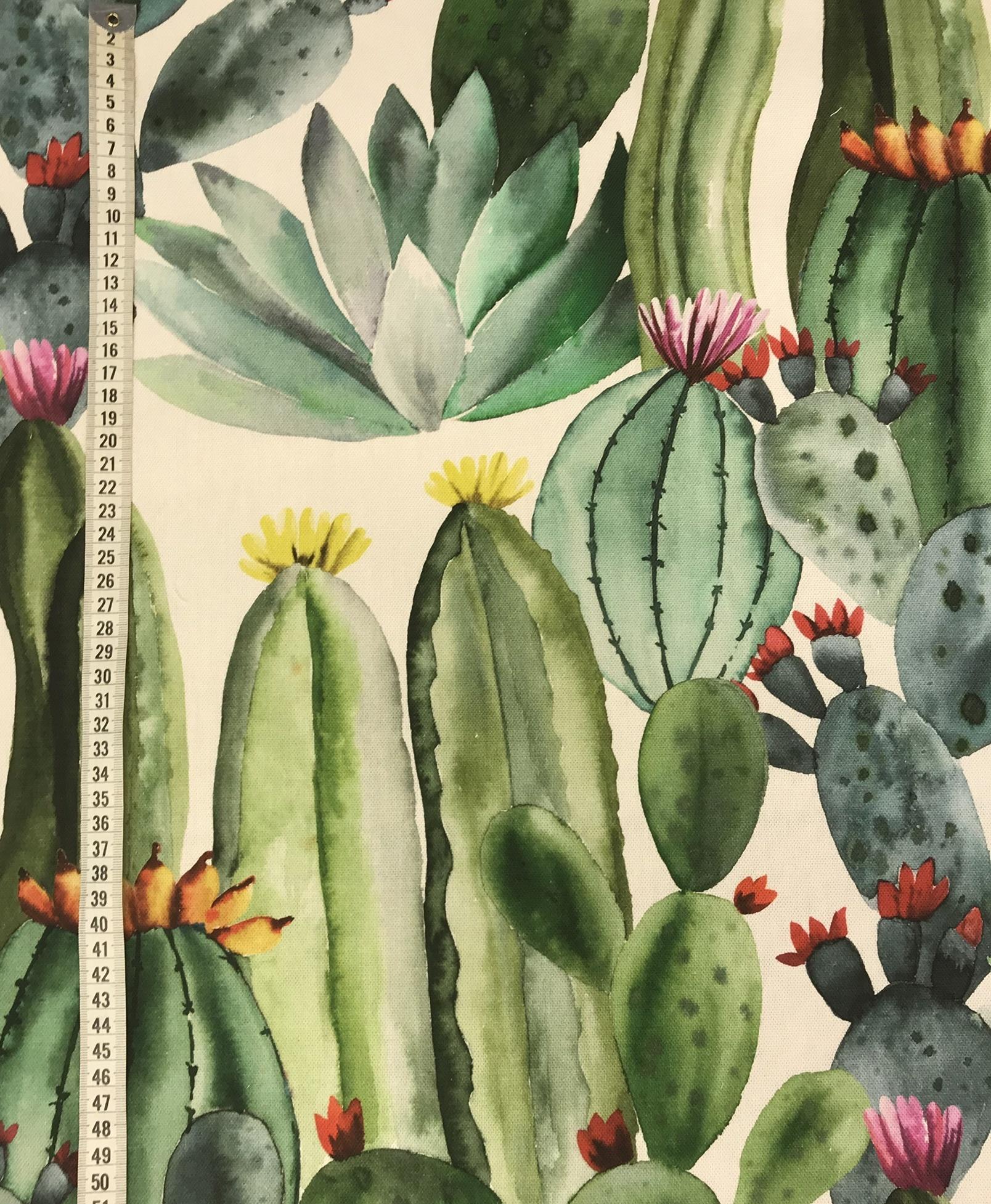 kaktus akvarell grön bomull vävt tyg metervara mode hemtextil