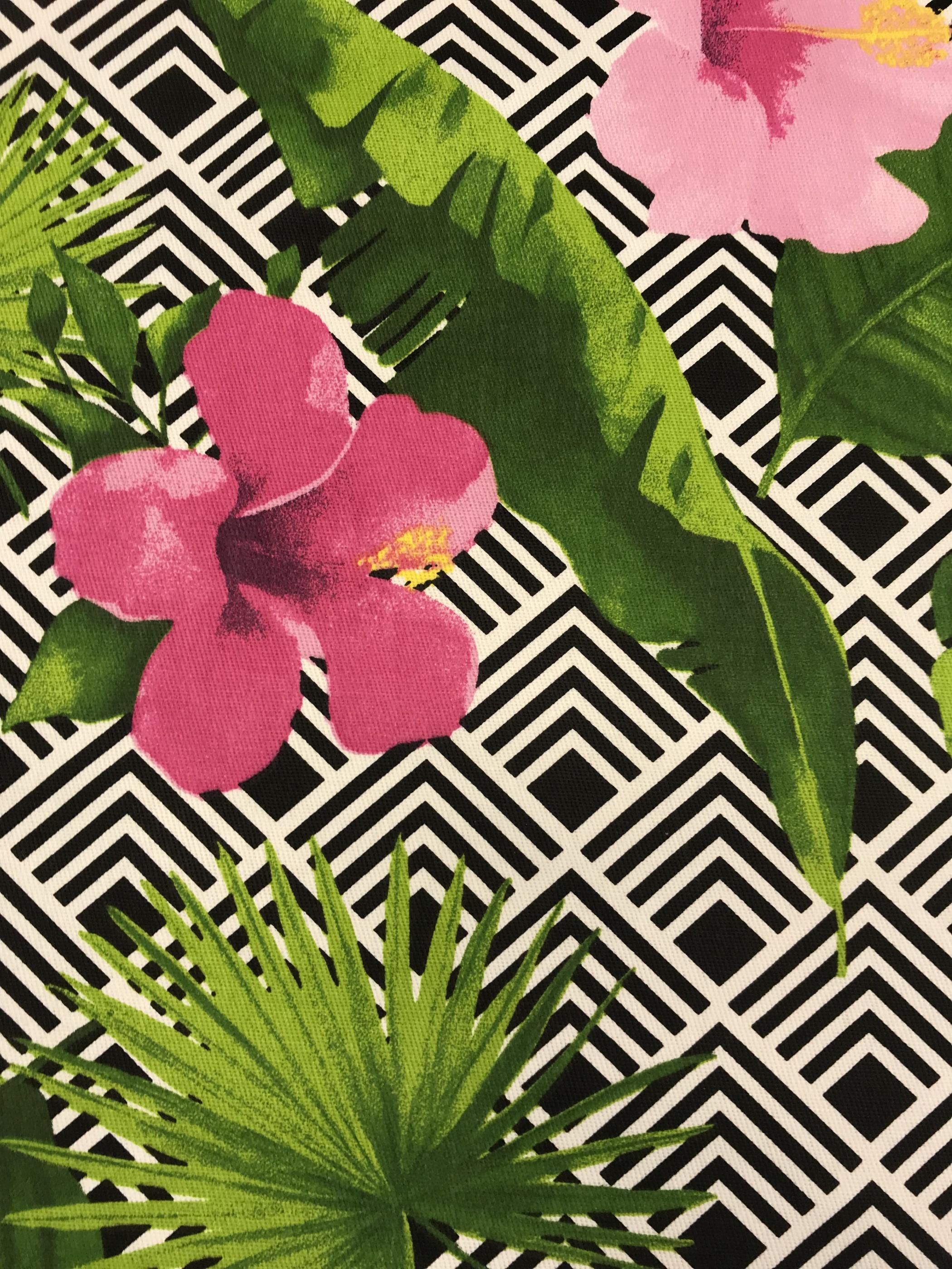 hibiskus blomma bomull vävt tyg metervara grafiskt mönster svartvit