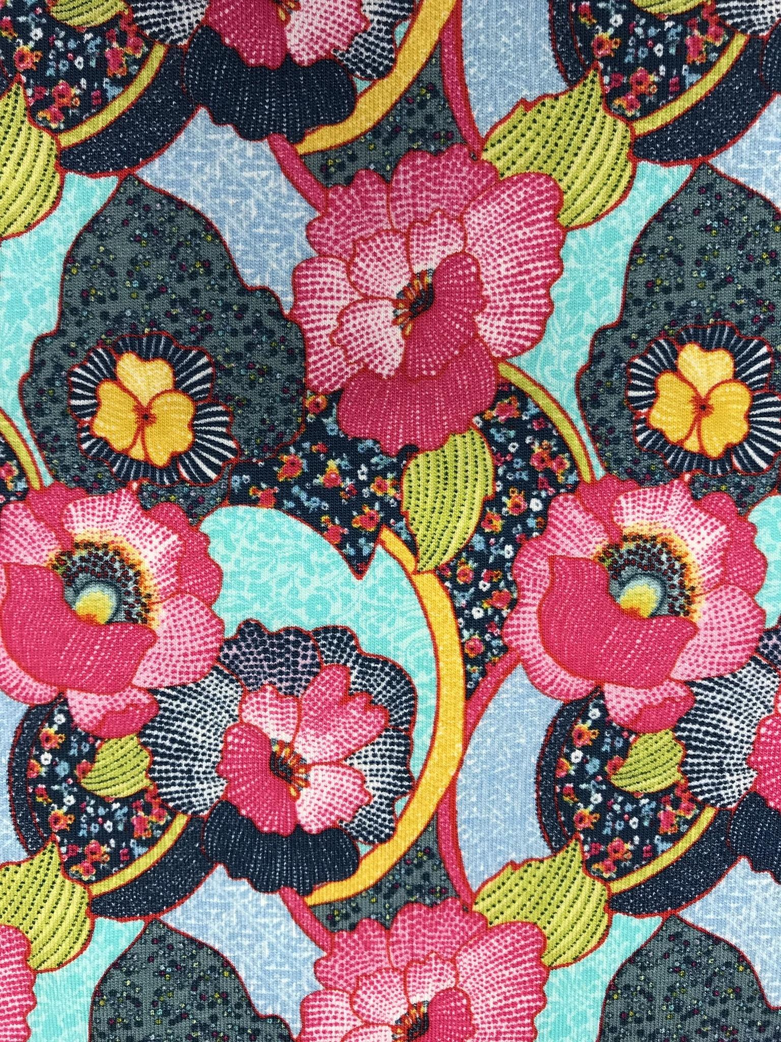 fantasiblomma trikå tyg metervara bomull rosa turkos mode