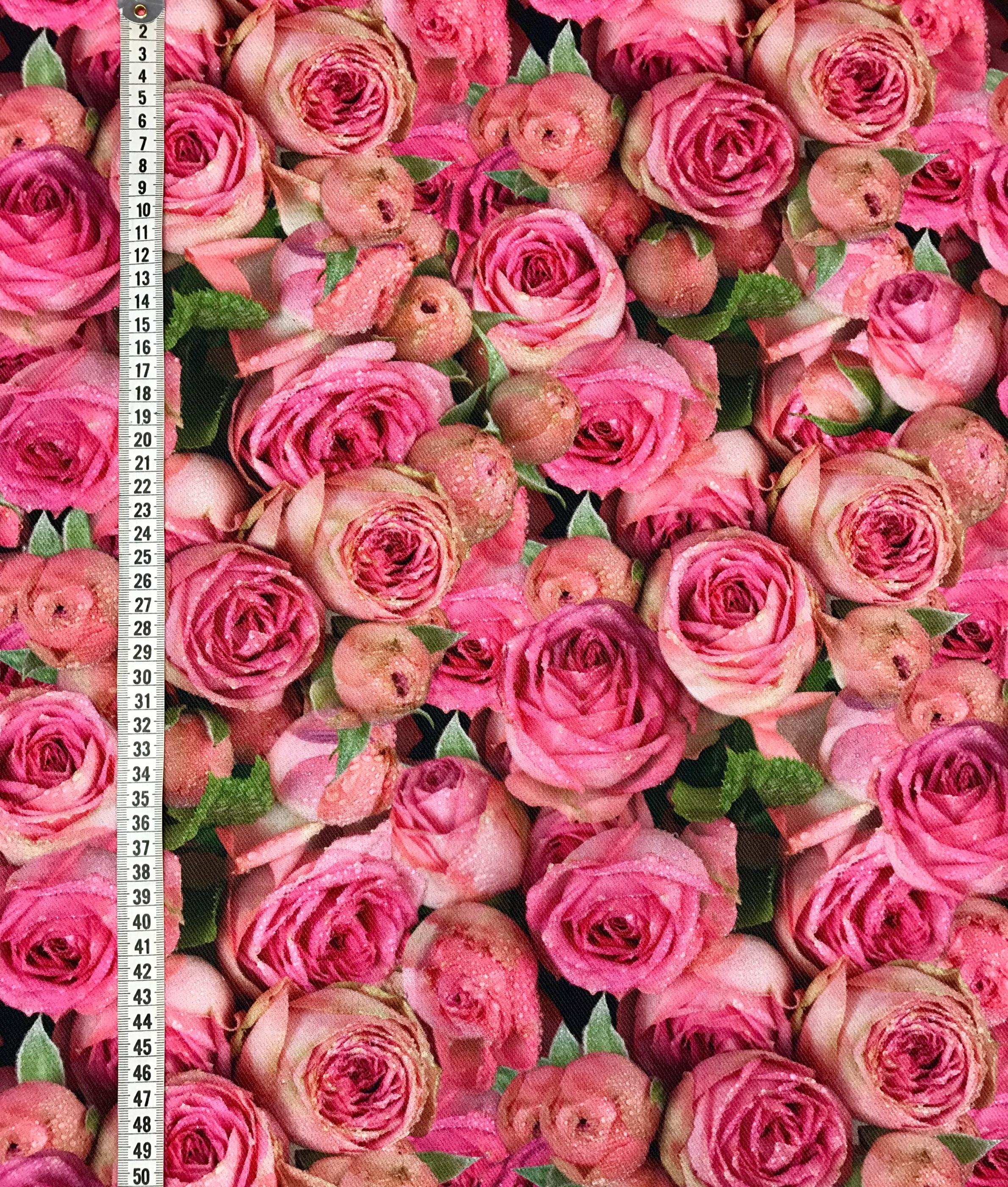 Ljuva rosor rosa vävt tyg bomull metervara rosa