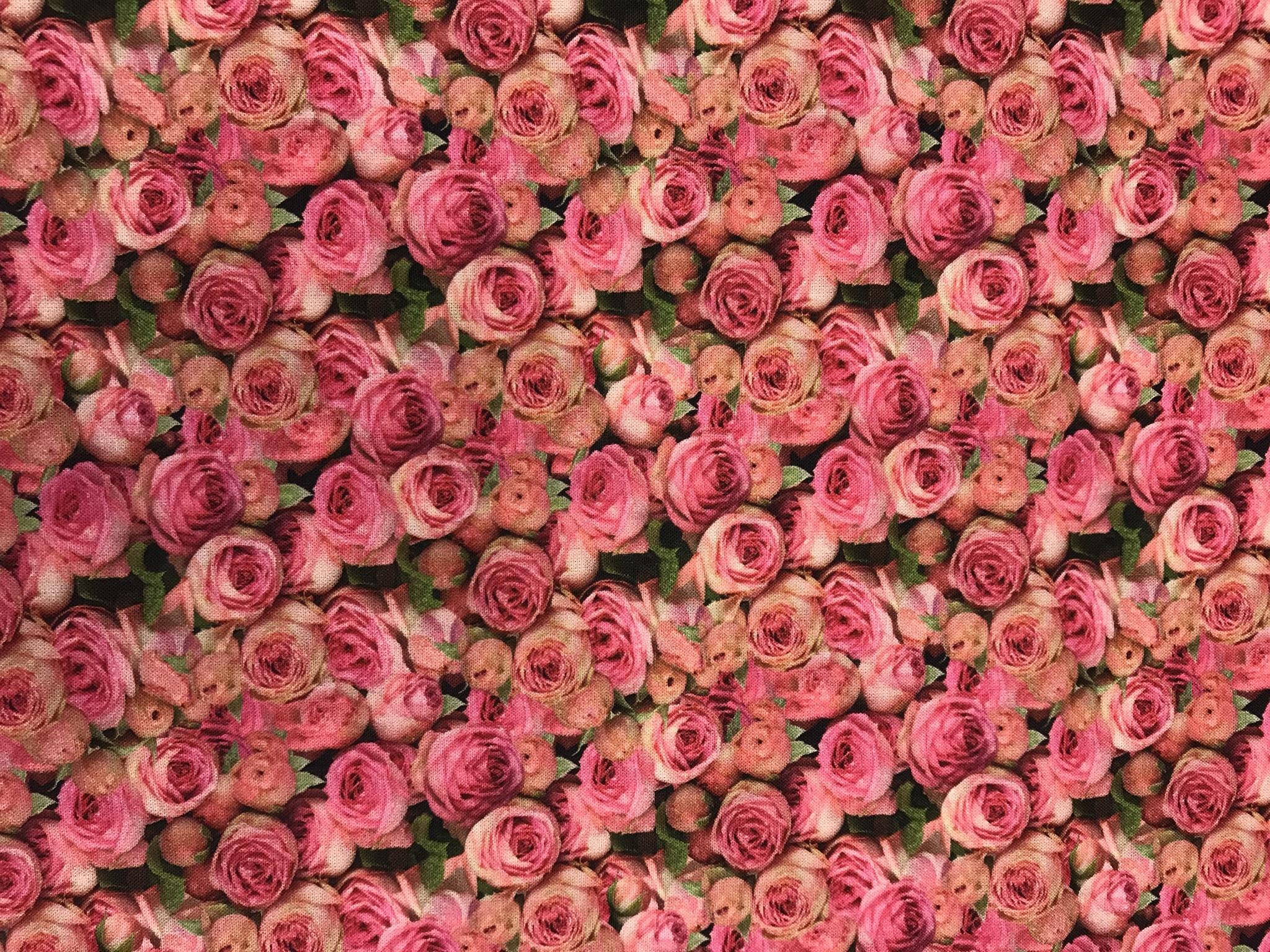 ljuva rosor blomma rosa digitaltryck vävt tyg bomull