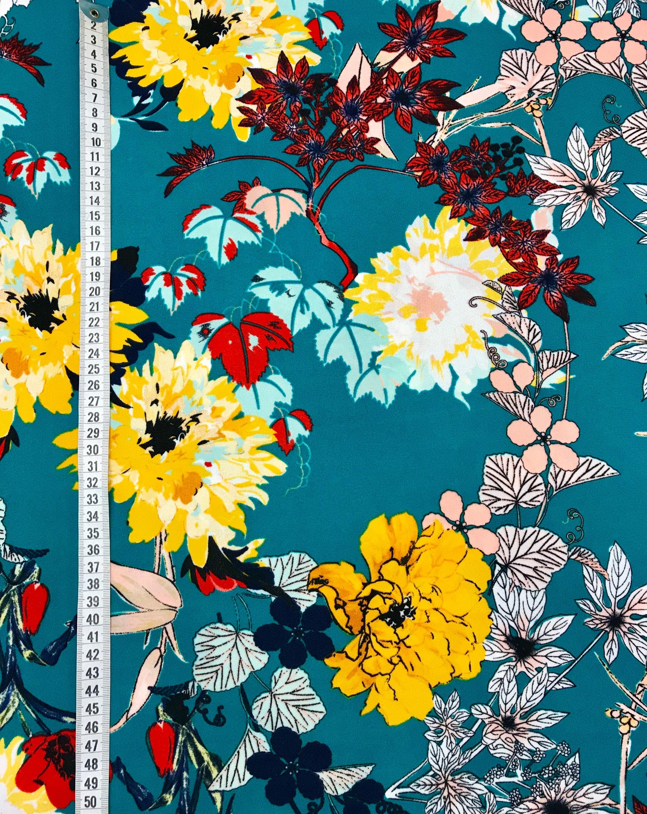 retro blomma grön tyg metervara polyester mode