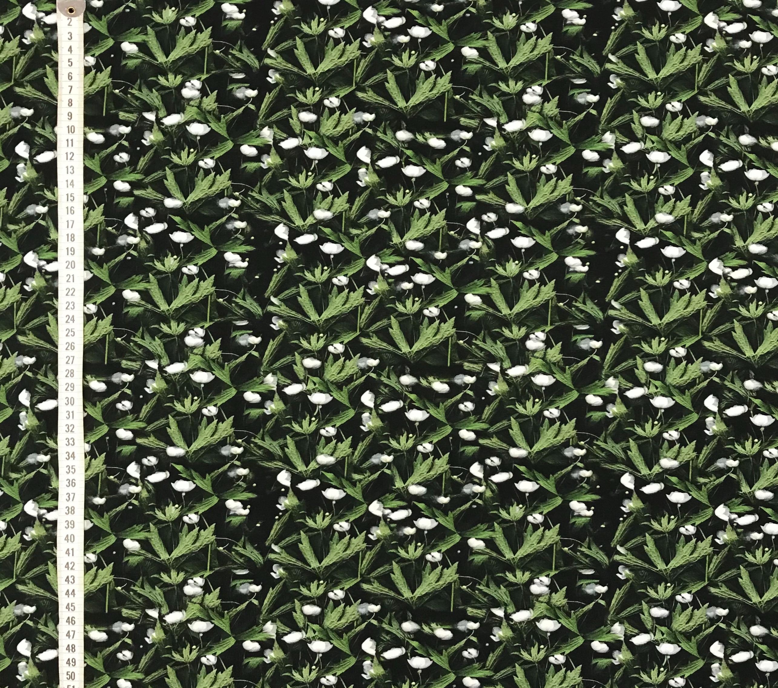 vitsippa bomullstrikå trikå ekologisk metervara Vårig fototryck