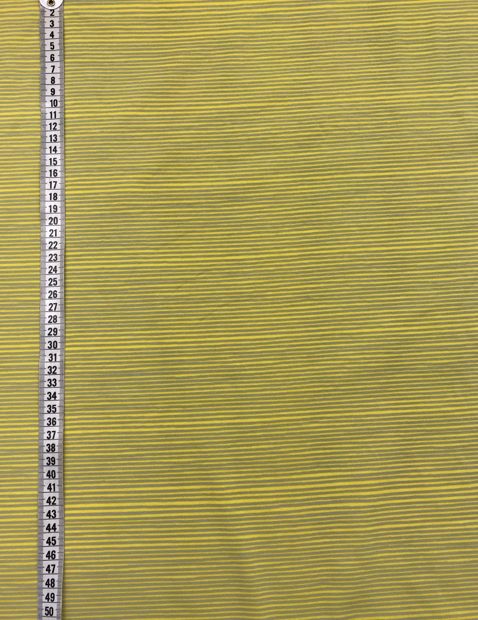 gul grå rand randigt trikå trikåtyg metervara bomull Tyglust