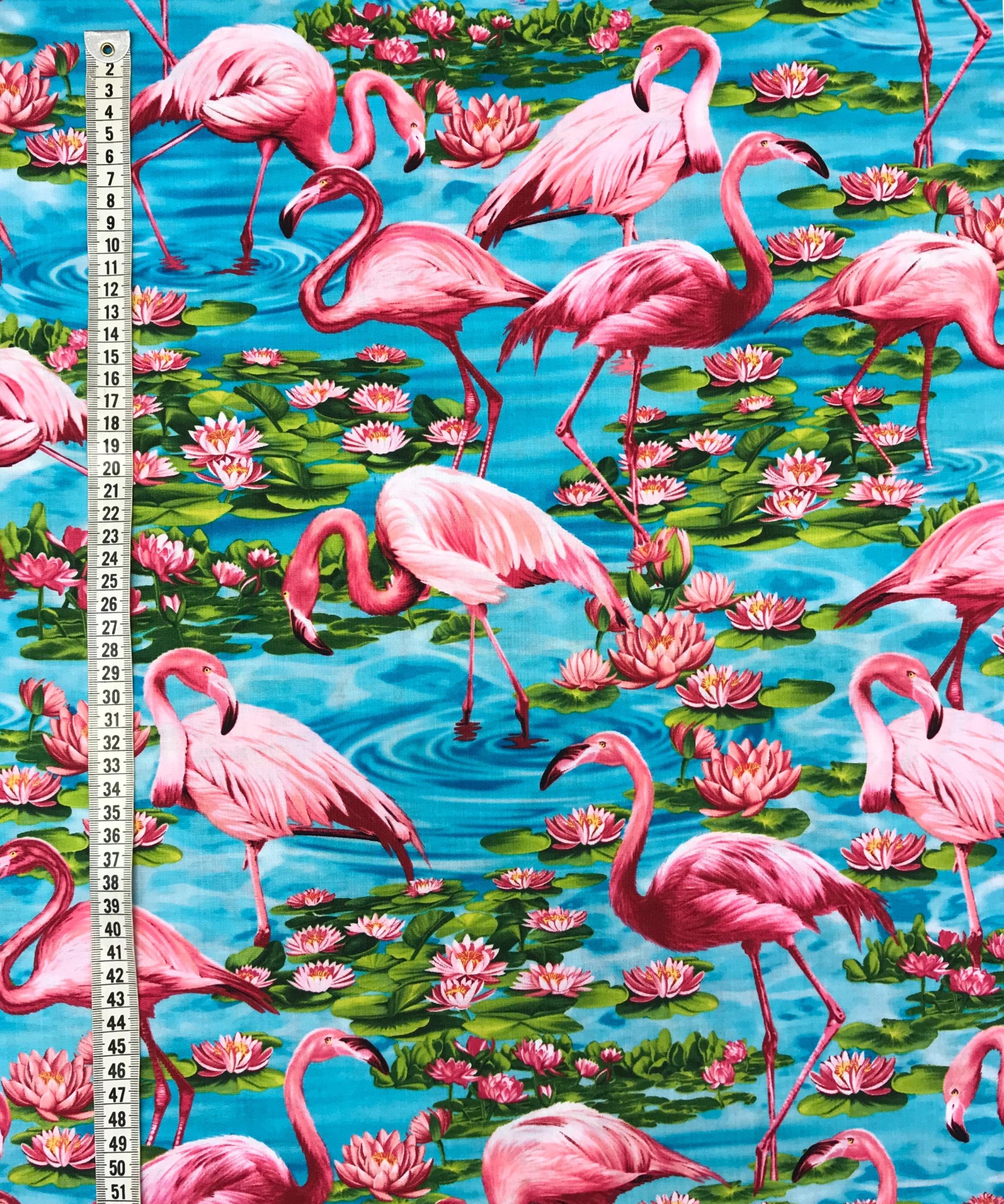 Näckros flamingo turkos rosa bomull Tyglust metervara