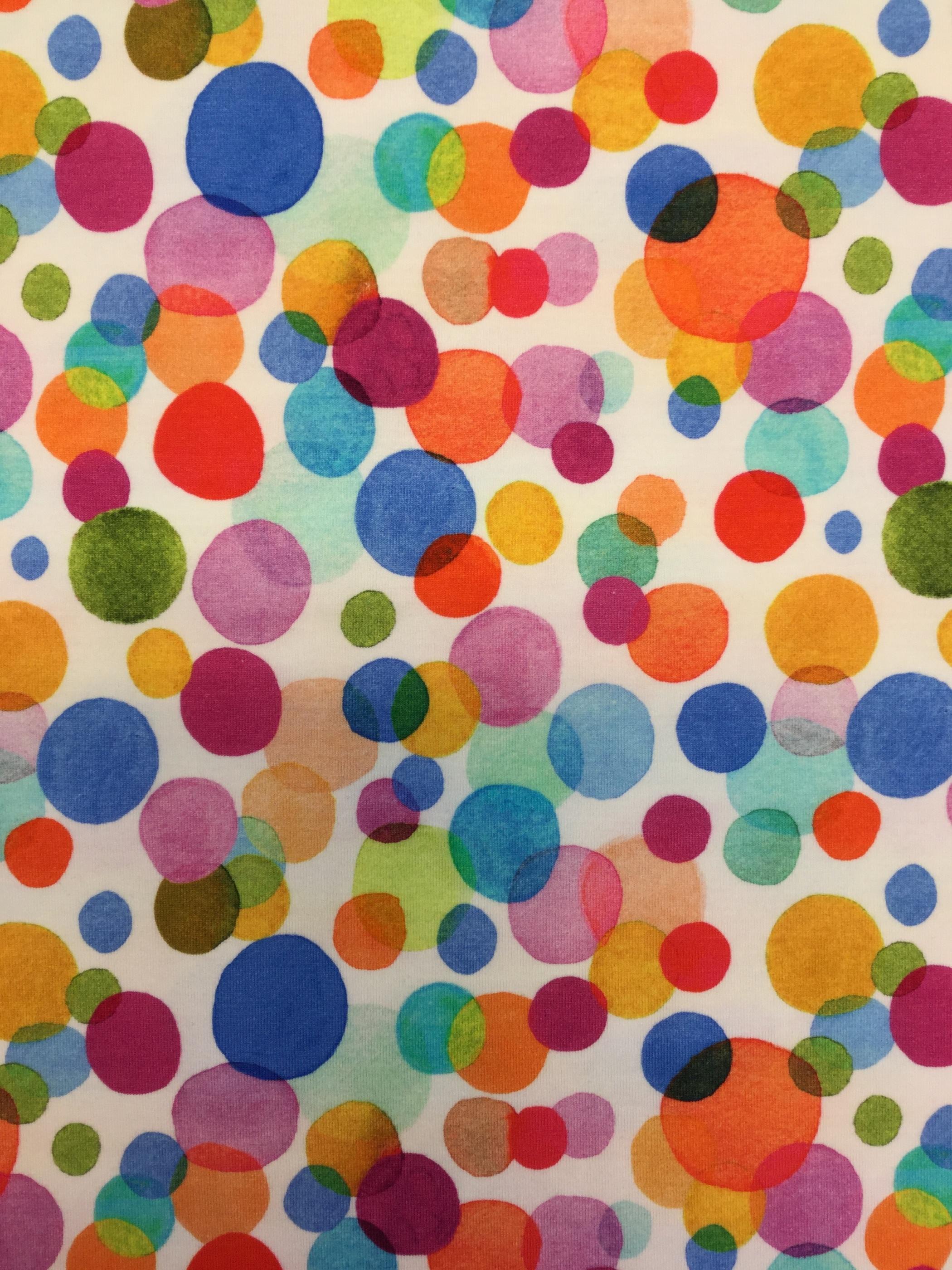 bubbelgum trikå bomull prickar färgglad öko tex Tyglust metervara