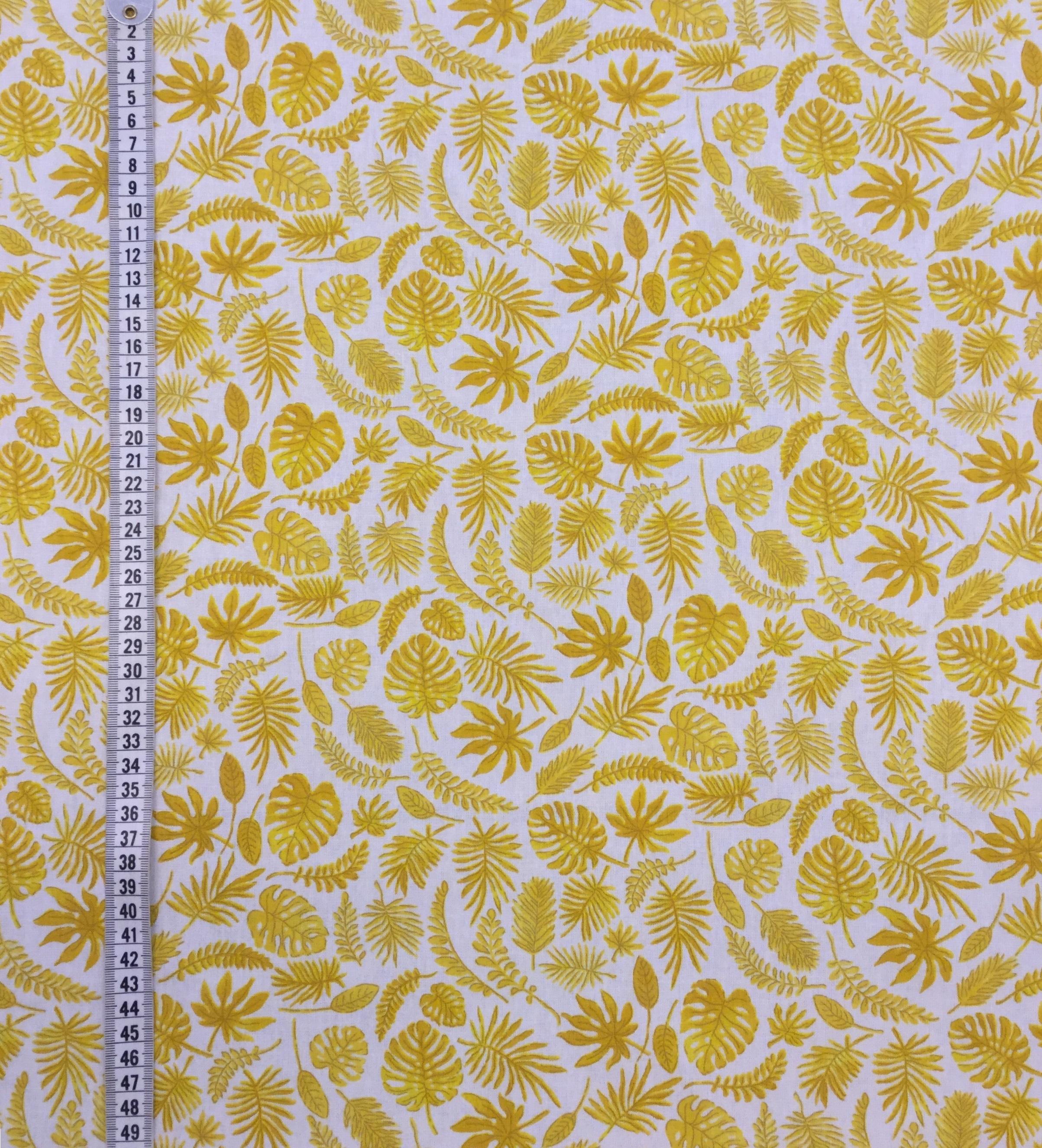 miniblad gul metervara bomull vävt tyg Tyglust gul