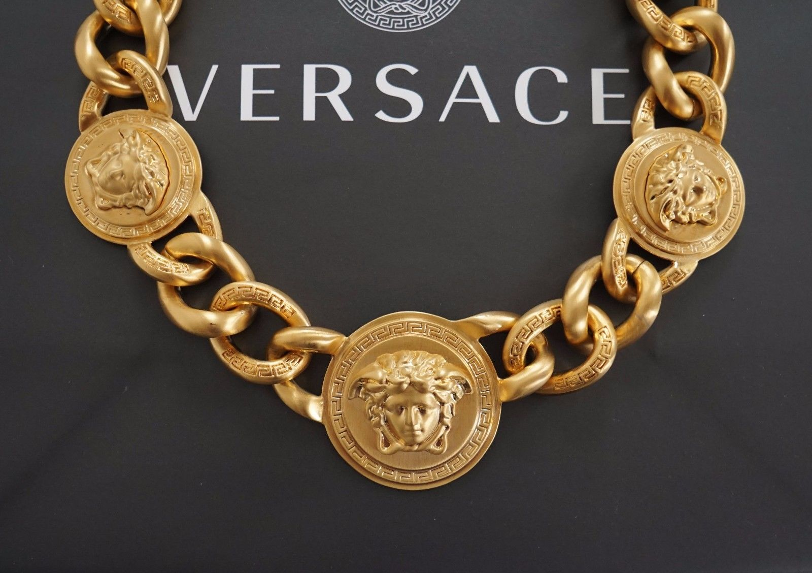 Versace Iconic 3 Medusa medallions chain necklace_1