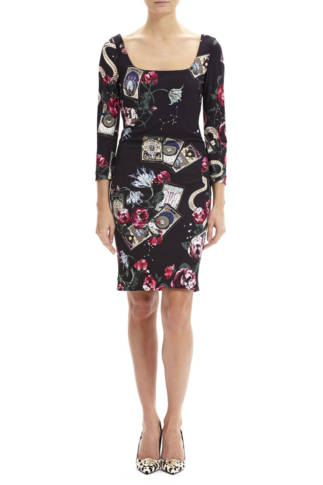 Roberto Cavalli Cards Printed Long-sleeved Dress_1