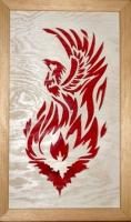Halländskt hantverk Fågel fenix Röd mot vit botten