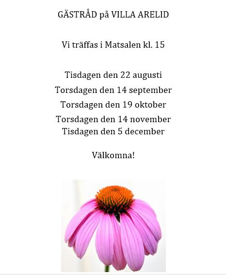Villa Arelid Hyheter Gästråd I Höst