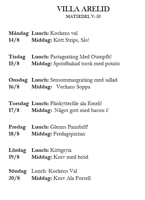 Villa Arelid Nyheter Veckomatsedel v.33