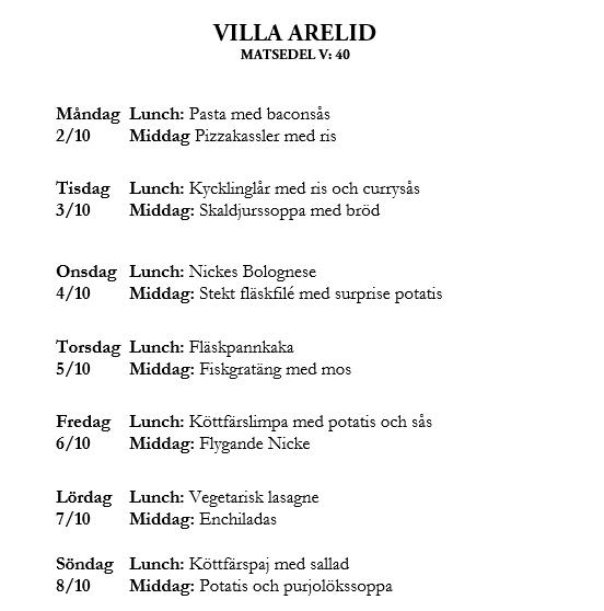 Villa Arelid Nyheter Veckomatsedel V.40