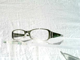 Läsglas grå strass