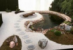 Japansk trädgård trampsten granit trädgårdskonst