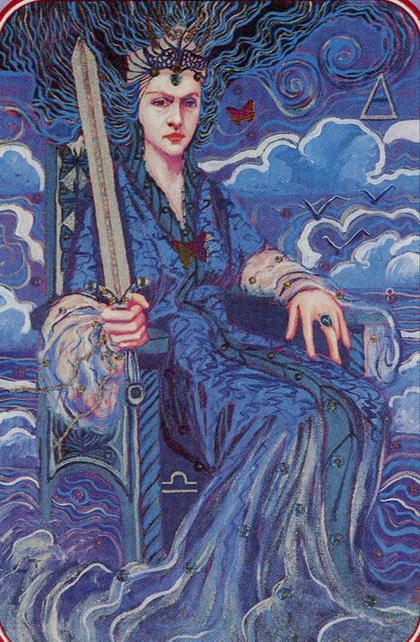 62-Queen-of-Swords-The-Spiral-Tarot-deck-by-Kay-Steventon