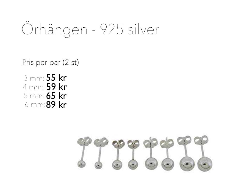 925 silverörhängen Prislista