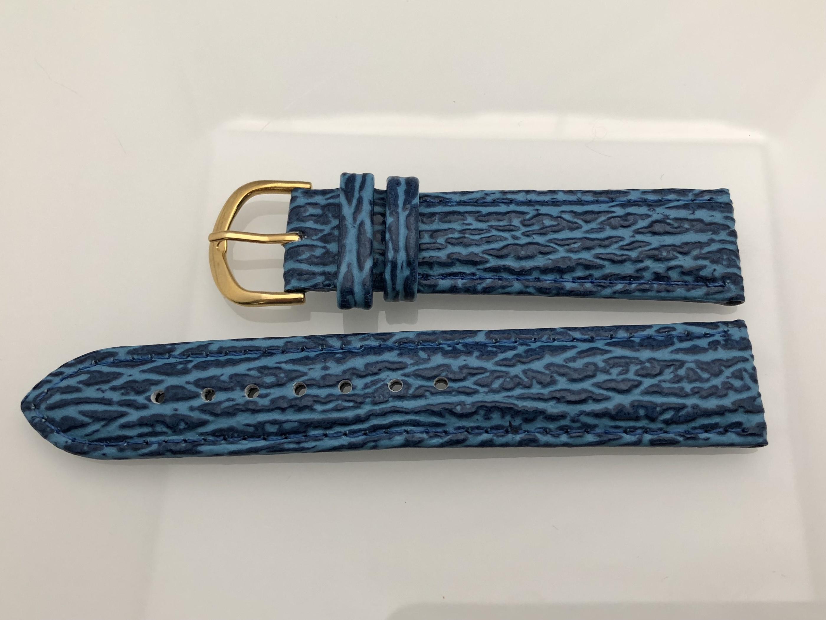 Blått läderband