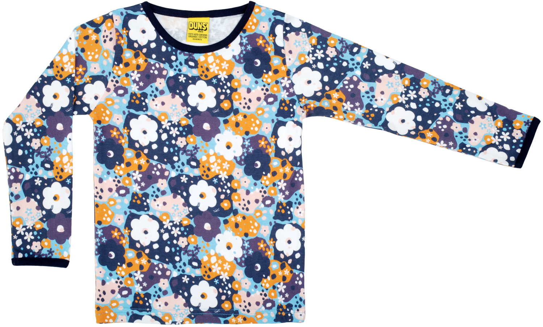 DS tröja lång ärm blå blommor