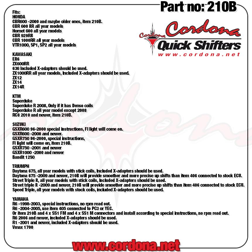 Cordona Quickshifter 210B-2