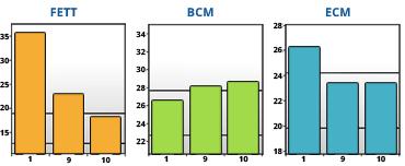 Resultatet visar mängden fett, muskler och vätska i kroppen