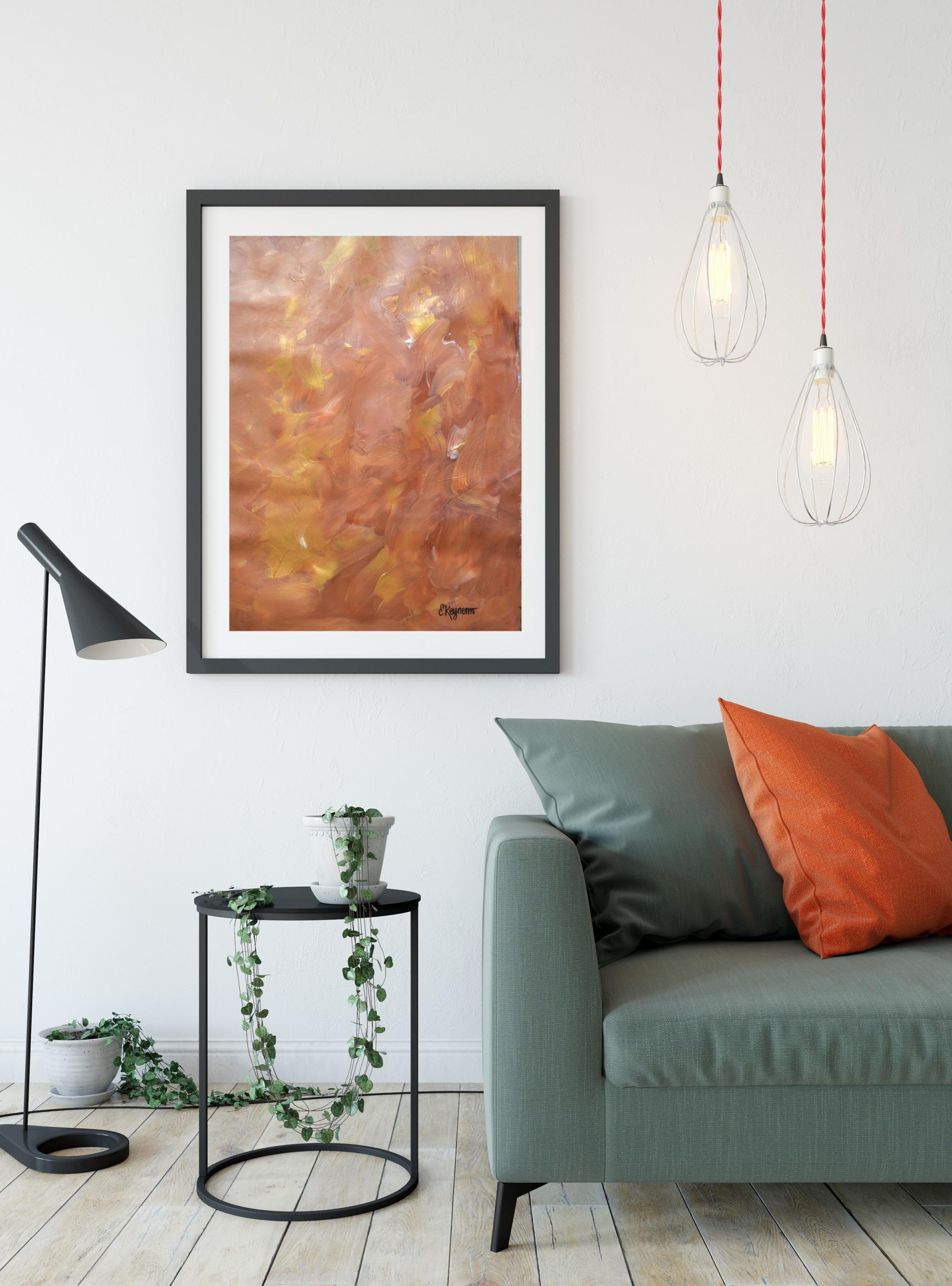 SS Grön soffa Måleriduk orange