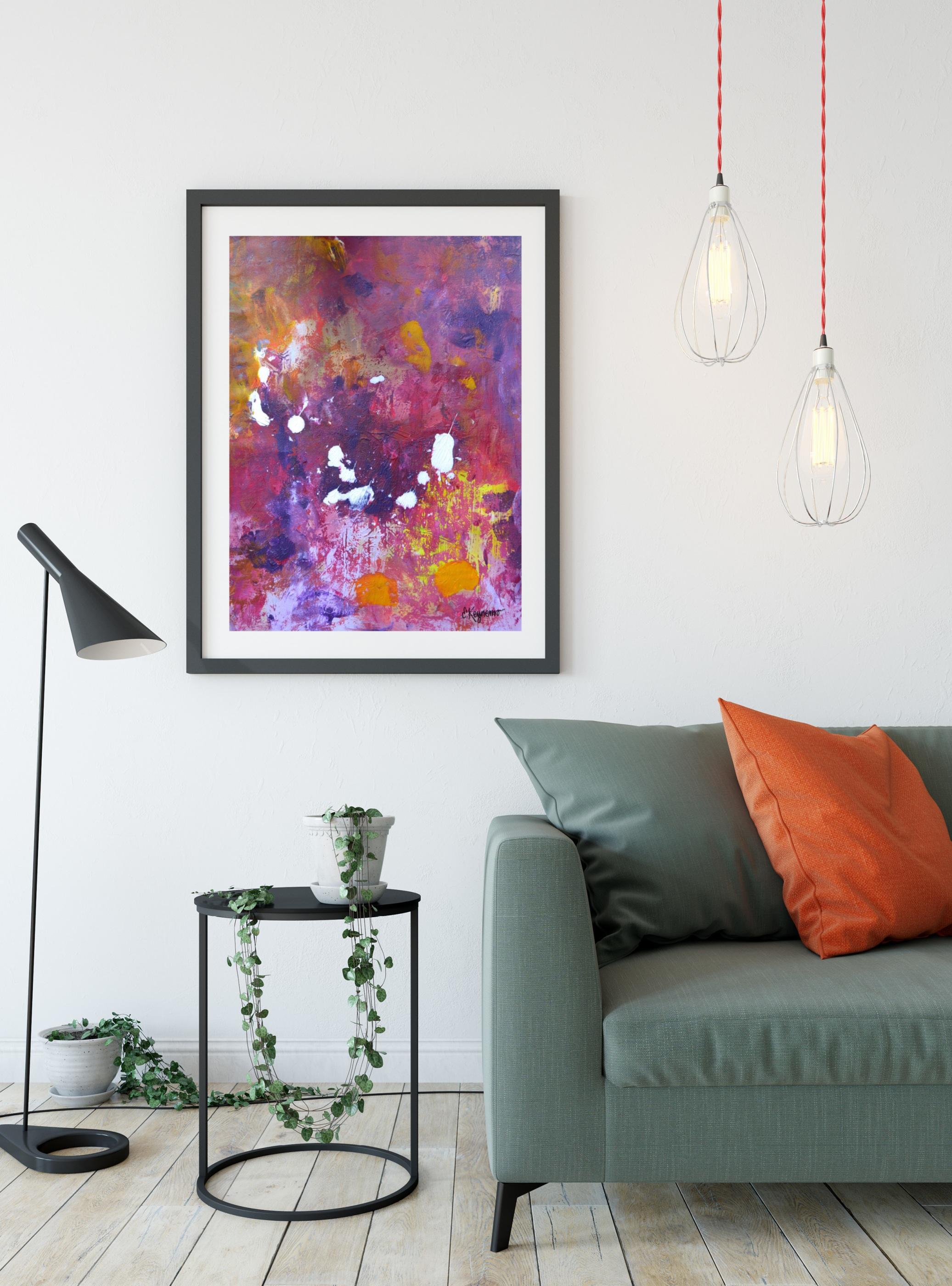 SS Grön soffa Måleriduk lila med orange