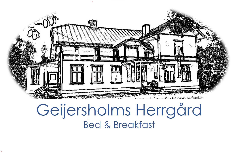 Logotyp med blå text