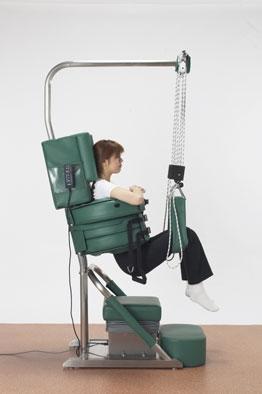 Nedre delen av kroppen hänger fritt och ryggen avlastas
