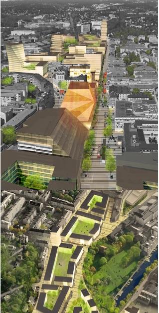 Skickliga Arkitektbyrån Whites förslag till byggnad på Sundbybergs torg återgiven i Stadens Vision 2020.  Till Staden: FÖRVERKLIGA och tramsa inte med gräs på torget. Låt behov gå före gräsmatta!
