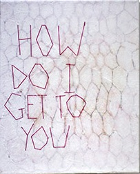 How Hive, acrylic, graphite, eraser, glue, thread on canvas 30 x 21 cm, 2015