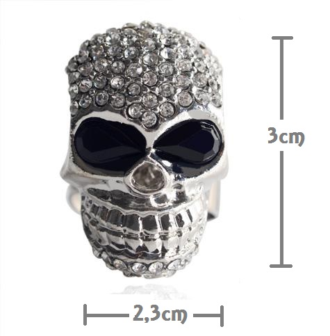 2014 European and American hot sale fashion punk diamond encrusted Skull Ring (2)