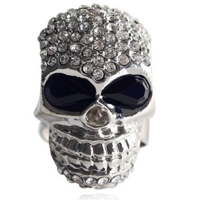 2014 European and American hot sale fashion punk diamond encrusted Skull Ring (2)1