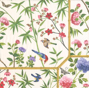 Pappersservett Caspari - Chinese Wallpaper cream