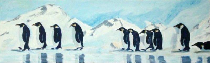 Pingvinmarsch, olja på duk, 100x30