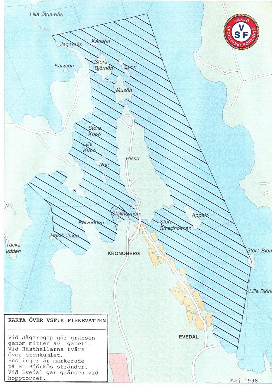 Karta över VSF´s fiskevatten