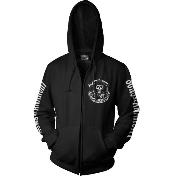 SONS OF ANARCHY: SOA Full CA Backprint Zip Hood (Black)