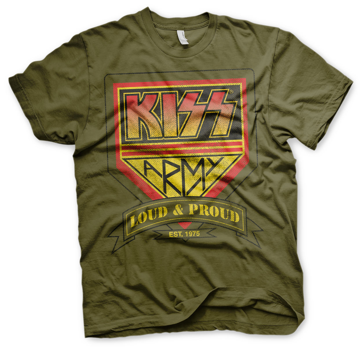 KISS ARMY - Loud & Proud Distressed Logo T-Shirt (olive)