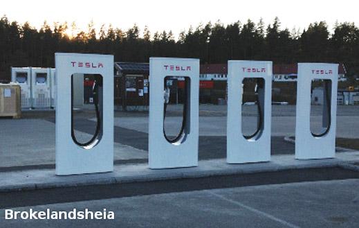 Några av de norska Superchargers (Bild: elbil.no)