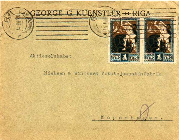 Letter to Denmark with the first Riga machine cancellation, 14-VII-20