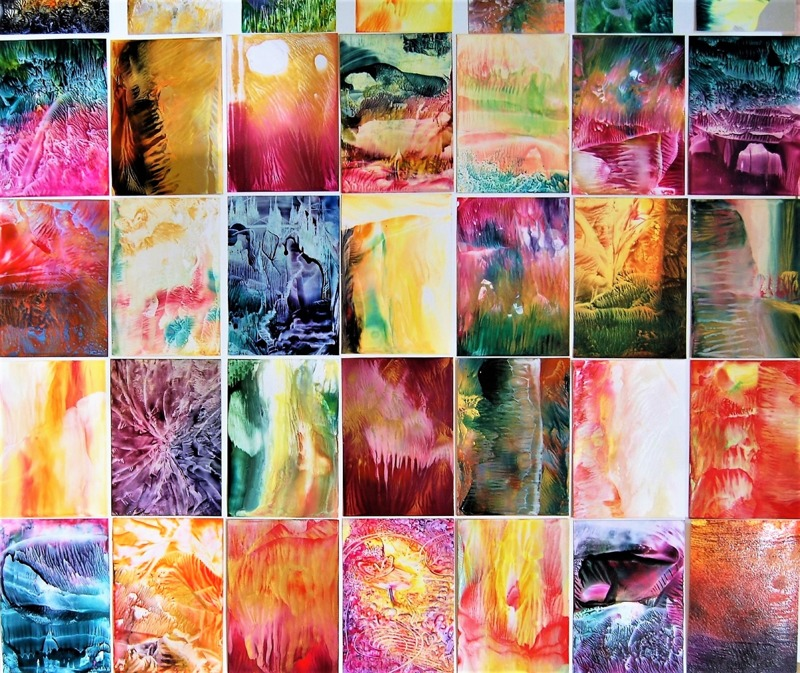 Encaustic Art konstkort / bivax på papper ~ Bild på många konstkot