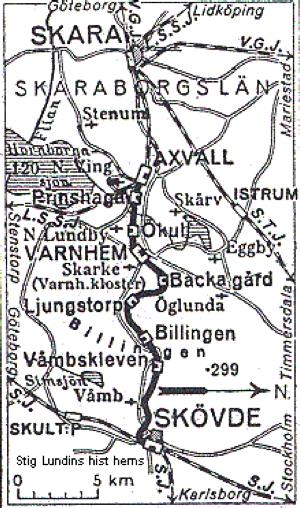 Klicka på kartan för större bild! SAJ från Skövde till Axvall  -  Stig Lundins hist. hemsida