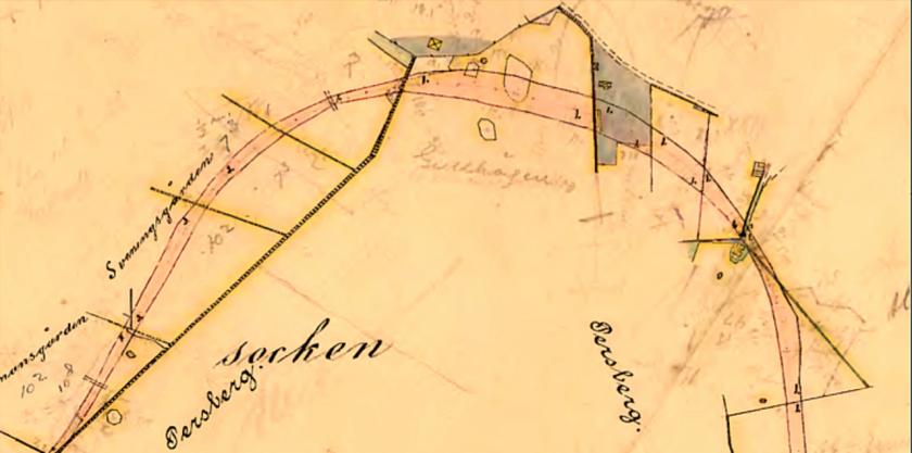 Stora SAJ-svängen på exproprieringskartan för SAJ från 1902-04. Persbergs gårds marker - senare Gullhögens - Sveningsgårdens marker, Sveningstorp och lite anordningar kring kalkbrytning kan man se.